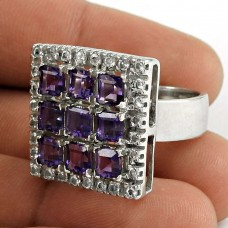 Pleasing 925 Sterling Silver Amethyst CZ Gemstone Ring Jewelry