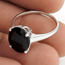 Sightly 925 Sterling Silver Black Onyx Gemstone Ring Vintage Jewelry