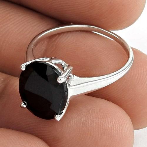 Sightly 925 Sterling Silver Black Onyx Gemstone Ring Vintage Jewelry