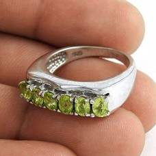 Seemly 925 Sterling Silver Peridot Gemstone Ring Jewelry