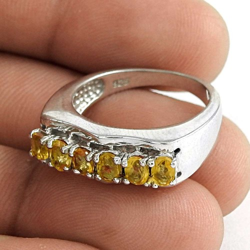 Well-Favoured 925 Sterling Silver Citrine Gemstone Ring Jewelry