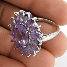 Personable 925 Sterling Silver Amethyst Gemstone Ring Jewelry