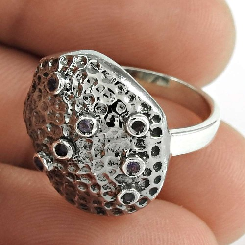 Fashion 925 Sterling Silver Amethyst Gemstone Ring Antique Jewelry