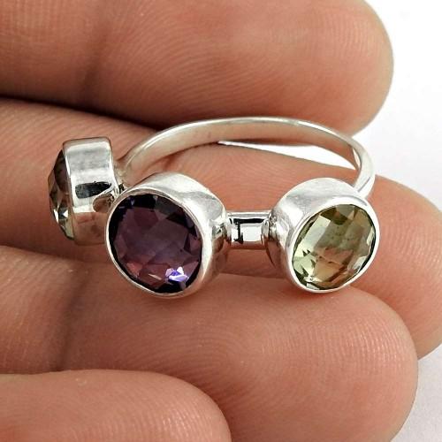 Designer 925 Sterling Silver Amethyst Green Amethyst Gemstone Ring Traditional Jewelry