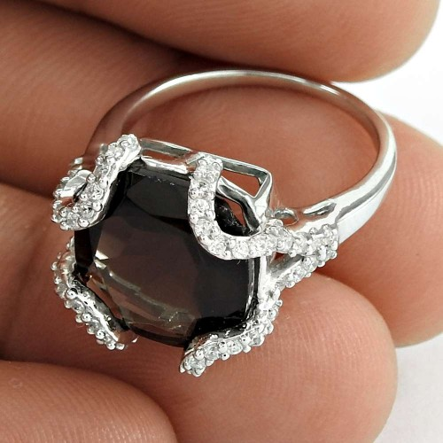 Pretty 925 Sterling Silver Smoky Quartz CZ Gemstone Ring Jewelry