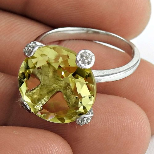 Beautiful 925 Sterling Silver Citrine Gemstone Ring Jewelry