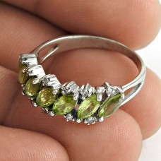 Daily Wear 925 Sterling Silver Peridot CZ Gemstone Ring Jewelry