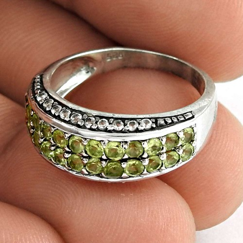 Rare 925 Sterling Silver Peridot CZ Gemstone Ring Ethnic Jewelry