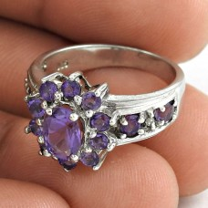 Classic 925 Sterling Silver Amethyst Gemstone Ring Jewelry