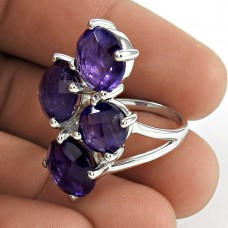 Amusable 925 Sterling Silver Amethyst Gemstone Ring Jewelry