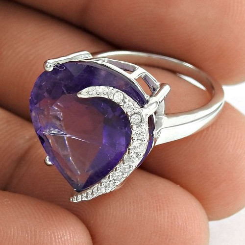 Excellent 925 Sterling Silver Amethyst CZ Gemstone Ring Vintage Jewelry