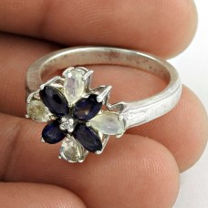 Beautiful 925 Sterling Silver Iolite Rainbow Moonstone Gemstone Ring Jewelry