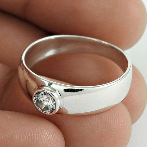 Daily Wear 925 Sterling Silver CZ Gemstone Ring Jewelry