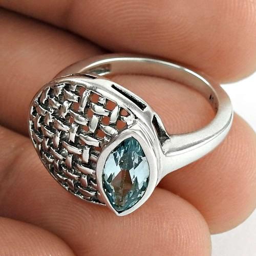 Rare 925 Sterling Silver Blue Topaz Gemstone Ring Ethnic Jewelry
