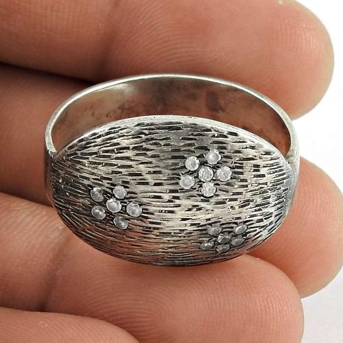 Trendy 925 Sterling Silver CZ Gemstone Ring Jewelry