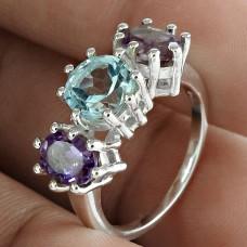 Fashion Amethyst Blue Topaz Gemstone 925 Sterling Silver Ring Antique Jewelry