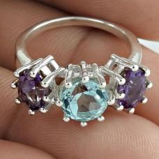 Designer Amethyst Blue Topaz Gemstone 925 Sterling Silver Ring Traditional Jewelry