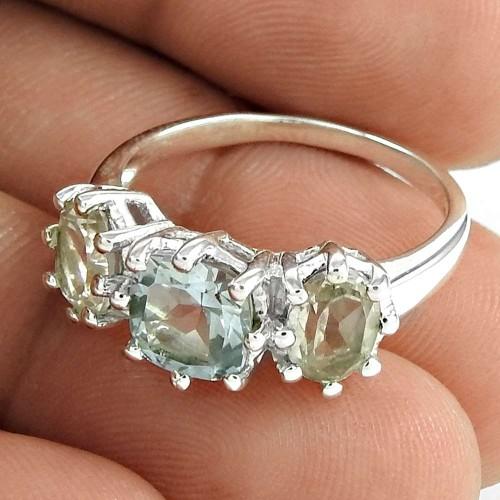 Designer 925 Sterling Silver Crystal Blue Topaz Gemstone Ring Traditional Jewelry