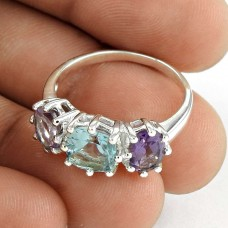 Pretty 925 Sterling Silver Blue Topaz Amethyst Gemstone Ring Jewelry