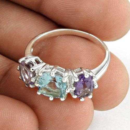 Pretty 925 Sterling Silver Blue Topaz Amethyst Gemstone Ring Jewelry