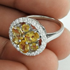 Authentic Collection Of Rhodium Plated Jewelry 925 Sterling Silver Citrine Gemstone & CZ Ring