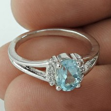 Oval Shape Blue Topaz Gemstone & CZ 925 Sterling Silver Rhodium Plated Ring For Women