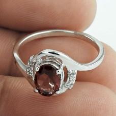 Oval Shape Garnet Gemstone & CZ 925 Sterling Silver Rhodium Plated Promise Ring