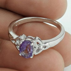 Magical Amethyst Gemstone 925 Sterling Silver Rhodium Plated Wedding Ring