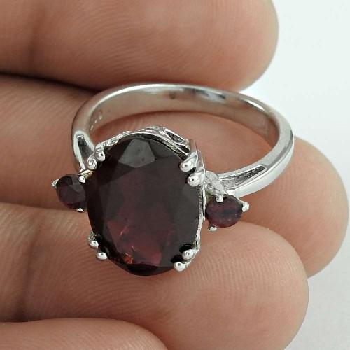 Beautifully Set Garnet Gemstone 925 Sterling Silver Rhodium Plated Statement Ring