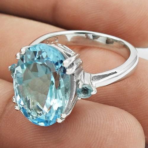 Stylish Rhodium Plated 925 Sterling Silver Blue Topaz Gemstone Ring Size 6 Handmade Jewelry J6