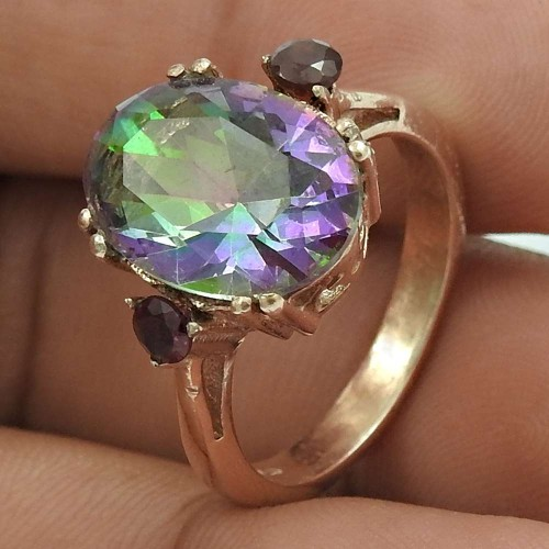 Dainty Rose Gold Plated 925 Sterling Silver Mystic Topaz Gemstone Ring Size 7 Vintage Jewelry J7