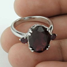 Beautiful Prong Set Garnet Gemstone 925 Sterling Silver Rhodium Plated Statement Ring