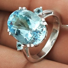 Good-Looking Rhodium Plated 925 Sterling Silver Blue Topaz Gemstone Ring Size 6 Handmade Jewelry J8