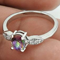 Pleasing 925 Sterling Silver Mystic, White C.Z Gemstone Ring Size 4.5 Handmade Jewelry J11