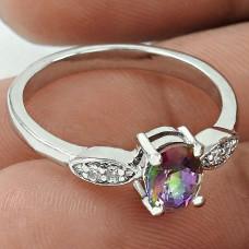 Sightly 925 Sterling Silver Mystic, White C.Z Gemstone Ring Size 8 Handmade Jewelry J12