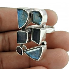 Hot Design 925 Sterling Silver Labradorite Garnet Gemstone Ring
