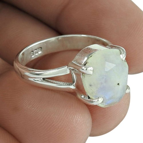 Rainbow Moonstone Gemstone Ring 925 Sterling Silver Wedding Gift Jewelry Wholesaling