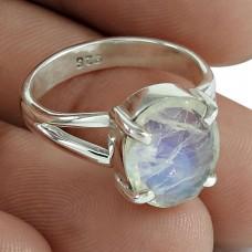 Rainbow Moonstone Gemstone Ring 925 Sterling Silver Stylish Jewelry