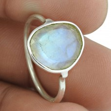 Fashion 925 Sterling Silver Rainbow Moonstone Gemstone Ring Antique Jewelry Al por mayor