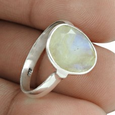 Latest Trend 925 Sterling Silver Rainbow Moonstone Gemstone Ring Vintage Jewelry Grossiste