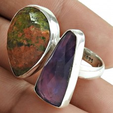 Open Ring Natural Unakite Amethyst Gemstone 925 Sterling Silver Wholesale Jewelry