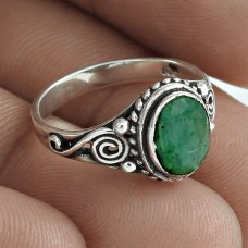 925 Sterling Silver Emerald Gemstone Ring Woman Fashion Jewellery