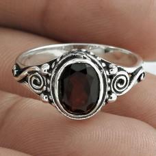 Beautiful 925 Sterling Silver Garnet Gemstone Ring Jewelry