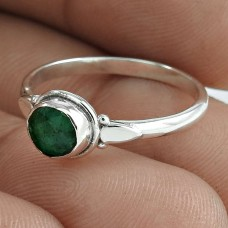 Fashion 925 Sterling Silver Emerald Gemstone Ring Antique Jewelry