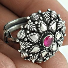 Good Looking 925 Sterling Silver Ruby Gemstone Ring Antique Jewellery