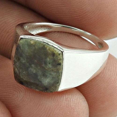 Daily Wear 925 Sterling Silver Brown Hakka Gemstone Ring Jewelry