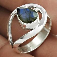 Seemly 925 Sterling Silver Labradorite Gemstone Ring Size 7 Handmade Jewelry J13