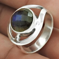 Personable 925 Sterling Silver Labradorite Gemstone Ring Size 7.5 Handmade Jewelry J15