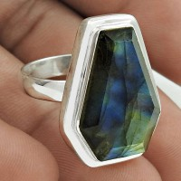 Classic 925 Sterling Silver Labradorite Gemstone Ring Size 8.5 Handmade Jewelry J16
