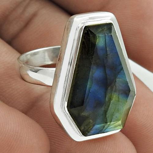 Classic 925 Sterling Silver Labradorite Gemstone Ring Size 8.5 Handmade Jewelry J16